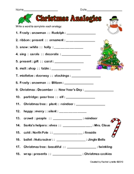 free christmas analogy worksheet with answer key by rachel lynette. Black Bedroom Furniture Sets. Home Design Ideas