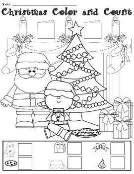 FREE Christmas Color and Count Activity