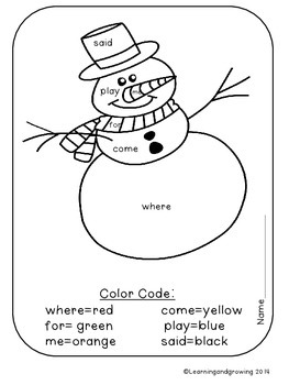 FREE Christmas Color by Sight Word