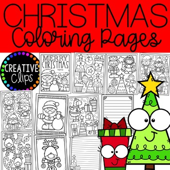 Christmas Coloring Pages {FREE} {Made by Creative Clips Clipart}