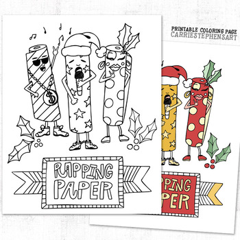 FREE Christmas Coloring Page, Funny Rapping Paper Printable
