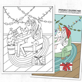 FREE Christmas Coloring Page, Unicorn Santa Reading a Book, Believe in yourself.