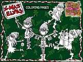 FREE Christmas Elves coloring pages (clip art by Happy Markers)