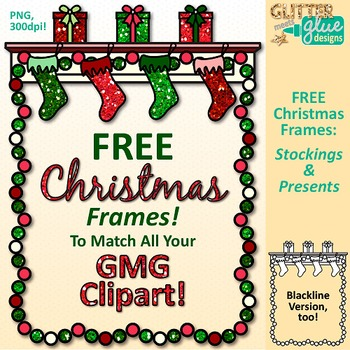 Christmas Frames Clip Art Stockings & Presents   Free Page Border for Worksheets
