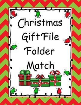 FREE Christmas Gift File Folder Match