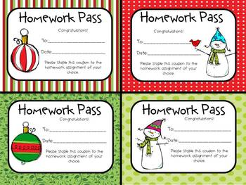 FREE Christmas Homework Passes by The Peanut Gallery | TpT