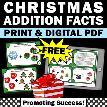 FREE Christmas Kindergarten Math Centers Addition Facts Task Cards & Games