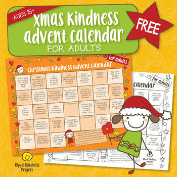 photograph regarding Advent Calendar Printable named Cost-free Xmas Kindness Introduction Calendar - Printable for Older people - US Letter