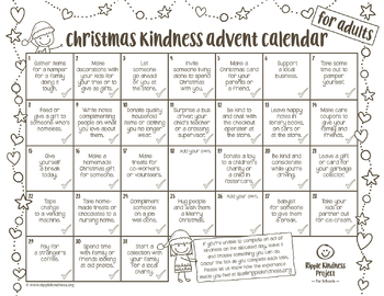 graphic about Printable Advent Calendar named Cost-free Xmas Kindness Introduction Calendar - Printable for Grown ups - US Letter