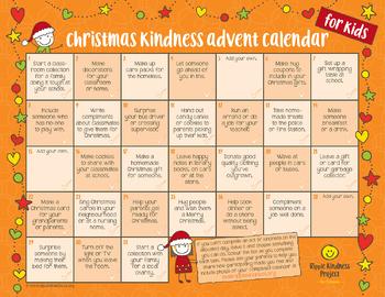 Free Christmas Kindness Advent Calendar Printable For