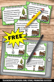 FREE Christmas Math Activities Addition & Subtraction Word Problems Task Cards