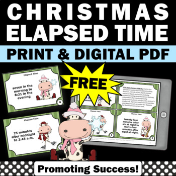 FREE Christmas Math Activities, Elapsed Time Task Cards, 4th Grade Math Centers