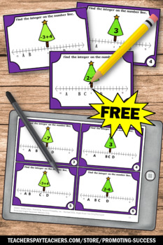 FREE Christmas Math Activities Integers on a Number Line, Integer Task Cards