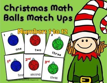 FREE Christmas Math Balls Match Up
