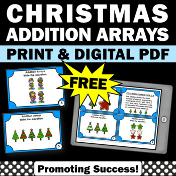 FREE Christmas Math Centers Arrays Task Cards 2nd Grade Christmas Activities