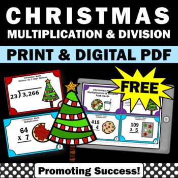 FREE 5th Grade Christmas Math Activities, Multiplication and Division Task Cards