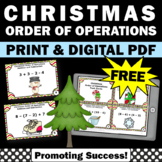FREE Christmas Math Activities, Order of Operations Task Cards 5th Grade Math
