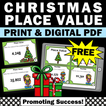 FREE Christmas Math Activities, Place Value Task Cards, 4th Grade Math Centers