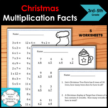 FREE Christmas Multiplication Facts worksheets