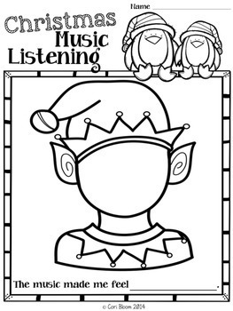 kindergarten music coloring pages - free christmas music listening worksheets by cori bloom tpt