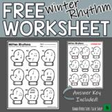 Music Worksheet:  WINTER RHYTHM- FREE!