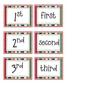 FREE Christmas Ordinal Numbers Activities