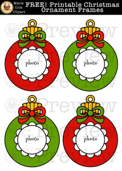 FREE! Christmas Ornament Frame Printables [Marie Cole Clipart]