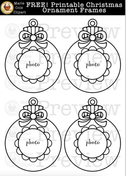free christmas ornament frame printables marie cole clipart