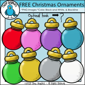 FREE Christmas Ornaments Clip Art Set - Chirp Graphics