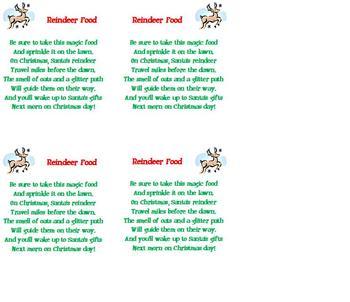 FREE Christmas Poem - Reindeer Food