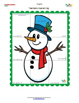 FREE Christmas Puzzle Quadratic Equations