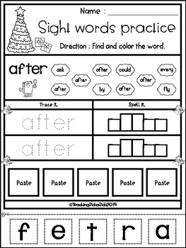 FREE Christmas Sight Word Practice (First Grade)