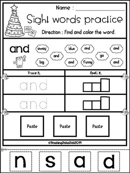 FREE Christmas Sight Word Practice (Pre-Primer)