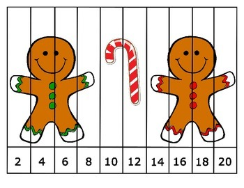 FREE Christmas Skip Counting Puzzles