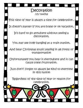 FREE Christmas Sound Loaded Rhyme for SPEECH Therapy -Silly Fun for the Holiday!