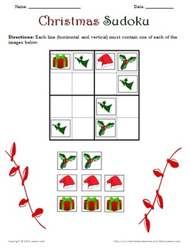 FREE Christmas Sudoku 4x4 Puzzle Pack for Kids