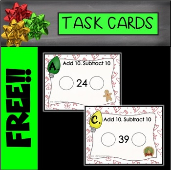 FREE Christmas Adding and Subtracting Task Cards