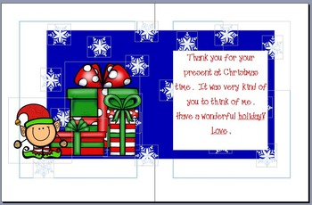FREE! Christmas Thank You Card from Teacher