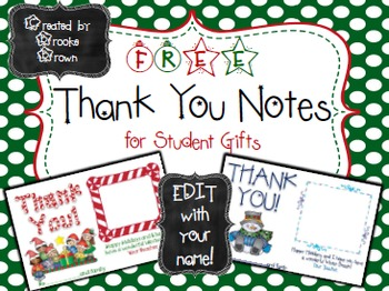 FREE Christmas Thank You Notes for Student Gifts {EDIT wit