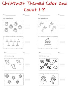 FREE Christmas Themed Color and Count 1-8