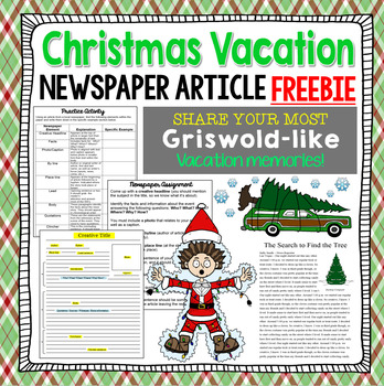 FREE Christmas Vacation Newspaper Article Writing