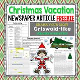 FREE Christmas Vacation Newspaper Writing
