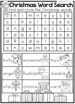 FREE Christmas Word Searches and Coloring Page