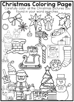 Free Christmas Word Searches And Coloring Page By Clever Classroom