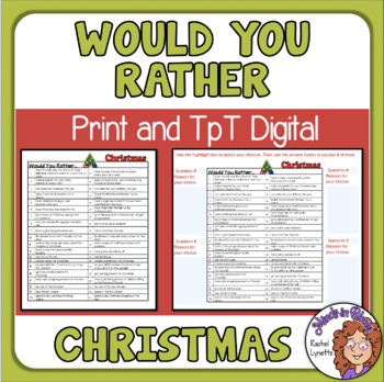 photograph relating to Would You Rather Printable titled Cost-free Xmas Would By yourself Pretty Queries
