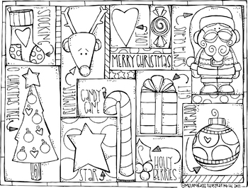 FREE Christmas coloring Page - Melonheadz Clipart