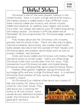 Free Christmas In The United States Close Reading By Ashleigh Tpt