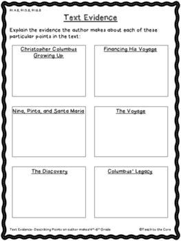 FREE Christopher Columbus Text Passage and Graphic Organizers Gr. 5-6