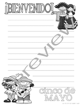FREE Cinco de Mayo Lined Writing Paper in Color and Line Art