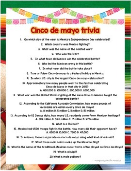 FREE Cinco de Mayo Trivia or Webquest Fun activity